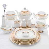 Guangzhou Wholesale Hotel Gold Plated Bone China Dinnerware Dinner Sets/