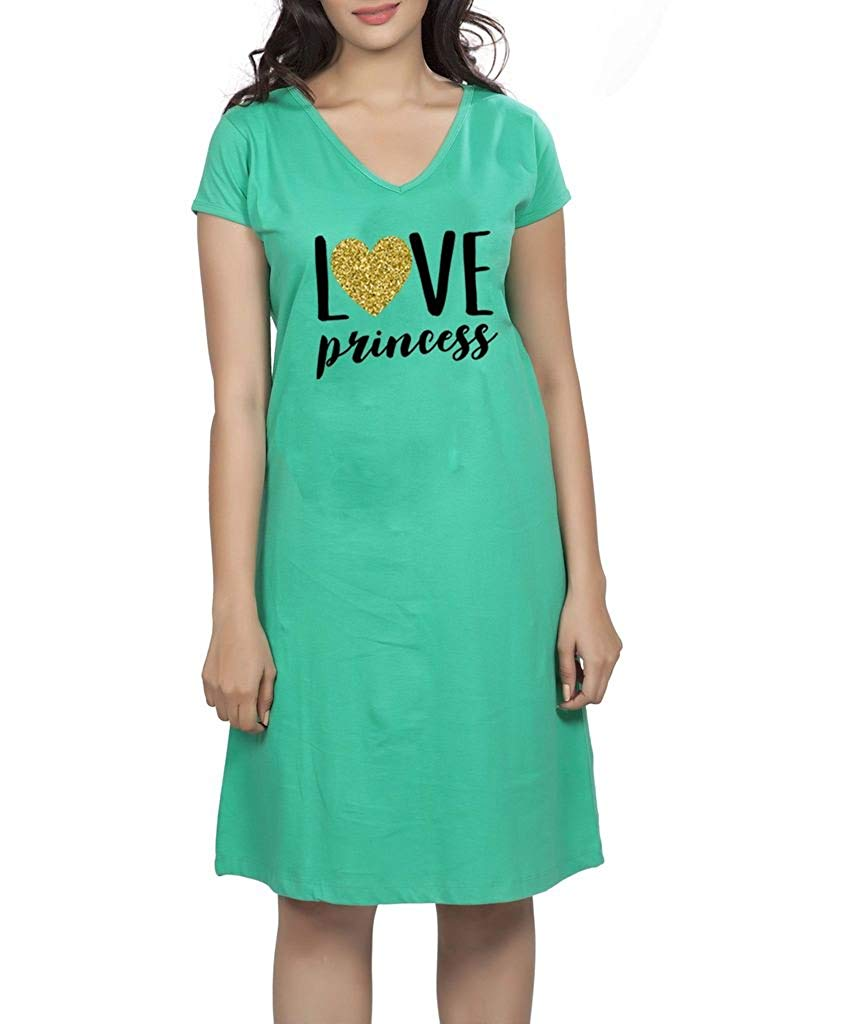 028a38ea5757d Get Quotations · Clifton Women's Printed Short Sleeve T-Shirt Dress -Water  Melon -Love Princess