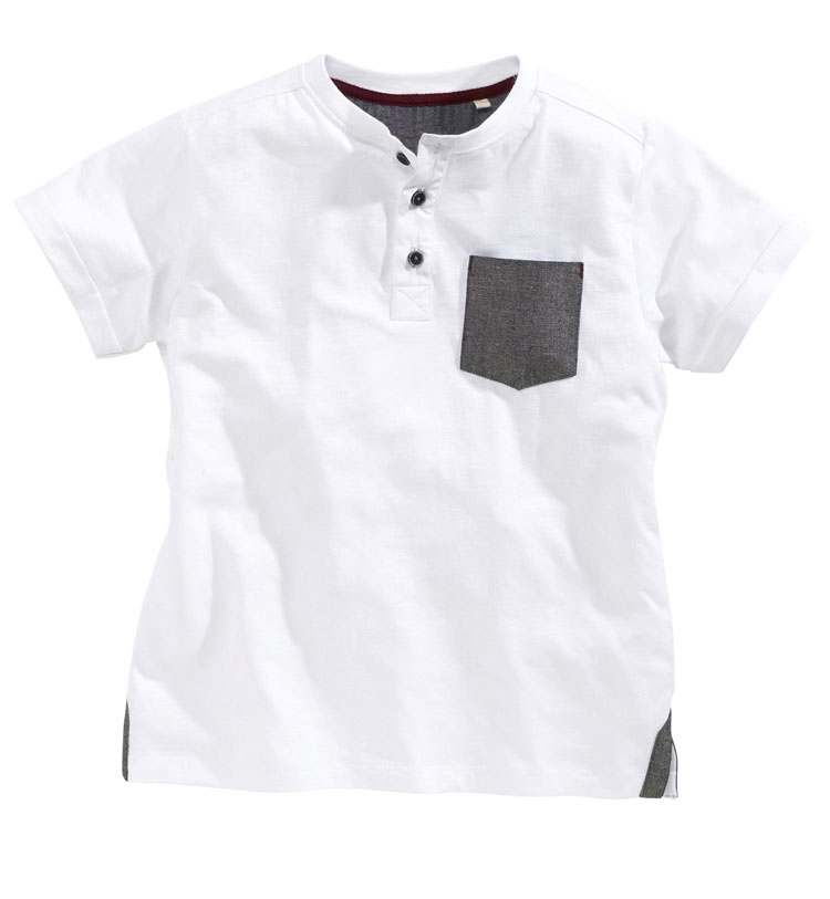 Oem Kids Plain White Cotton T Shirts With 3 Button And One Pocket ...