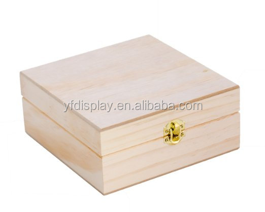 wooden storage box for essential oil with hinge