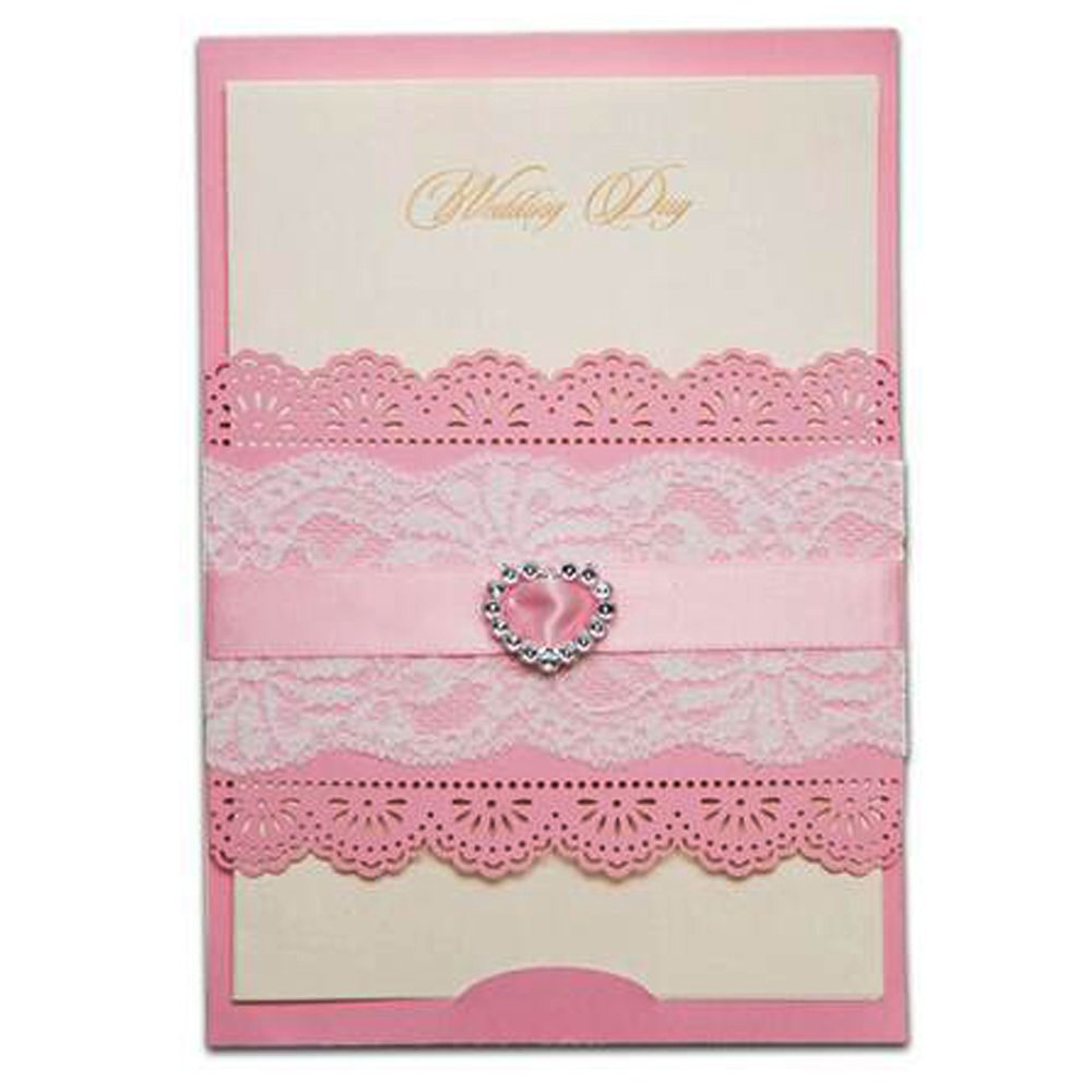Everyshine Pink Heart Rhinestone Diamond Laser Cut Wedding Invitations (50)