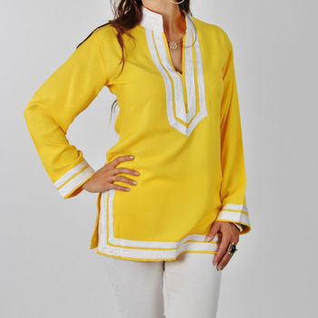 una grande varietà di modelli migliori offerte su 100% autentico Giallo Marocchina Tunica Bianca Con Ricamo- Maryam Stile - Buy Camicie  Tunica Product on Alibaba.com