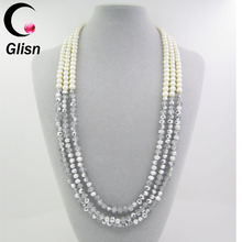 fashion faux pearl beads glass inlaid triple layer necklace jewelry for women