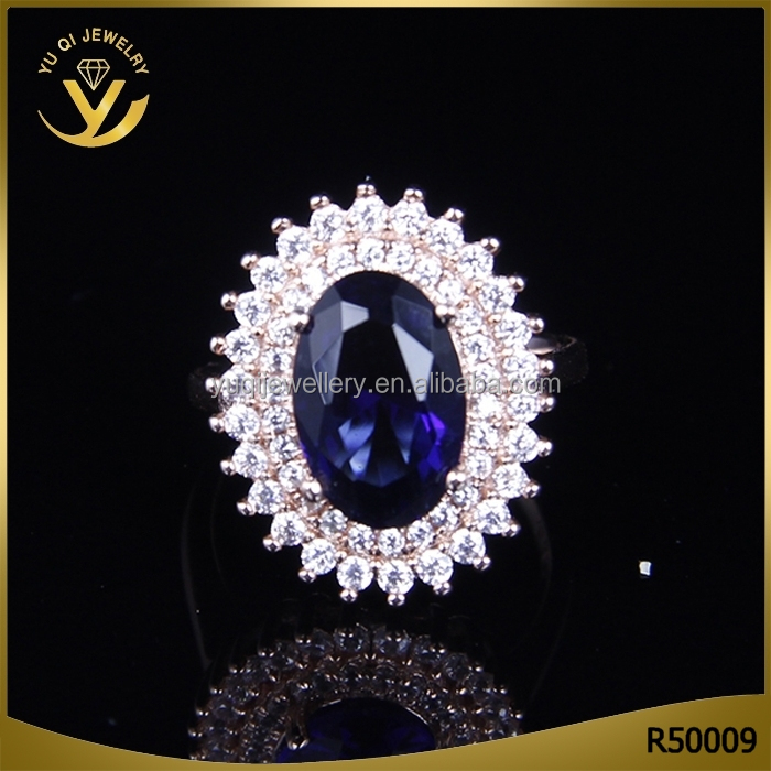 Latest design copper sliver fashion Wedding ring With sapphire gemstone Jewelry ring for couple