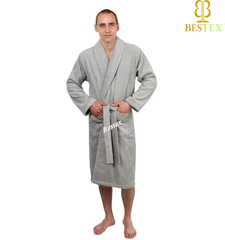 100% Polyester Coral Fleece Thick Grey Bathrobe Mens Dressing Gown ...