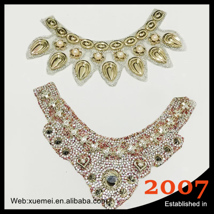 wholesale hotfix Iron On colorful bridal Rhinestone crystal bead neckline trim lace