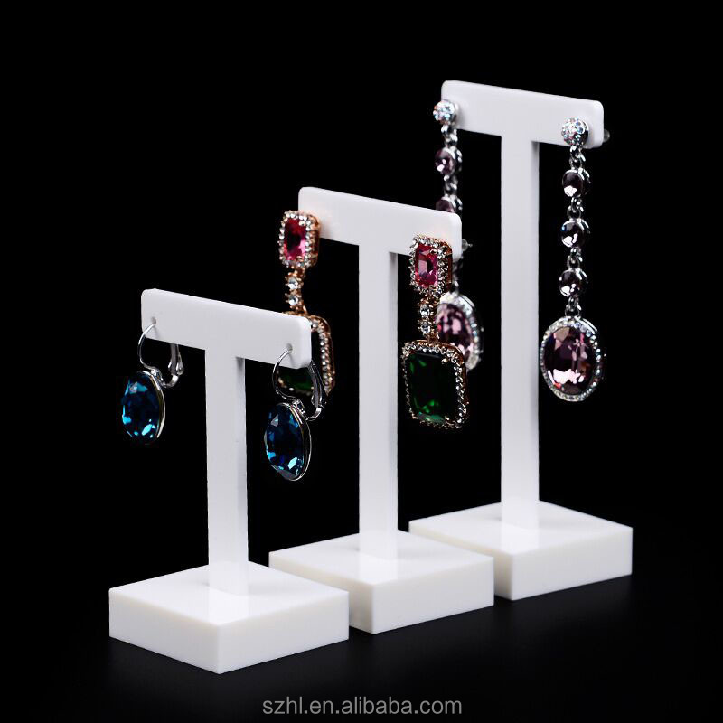 Custom white acrylic earring jewelry display