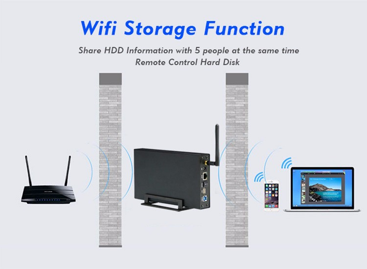 Gabinete de armazenamento sem fio hdd 3. 5 sata sata sata wifi.