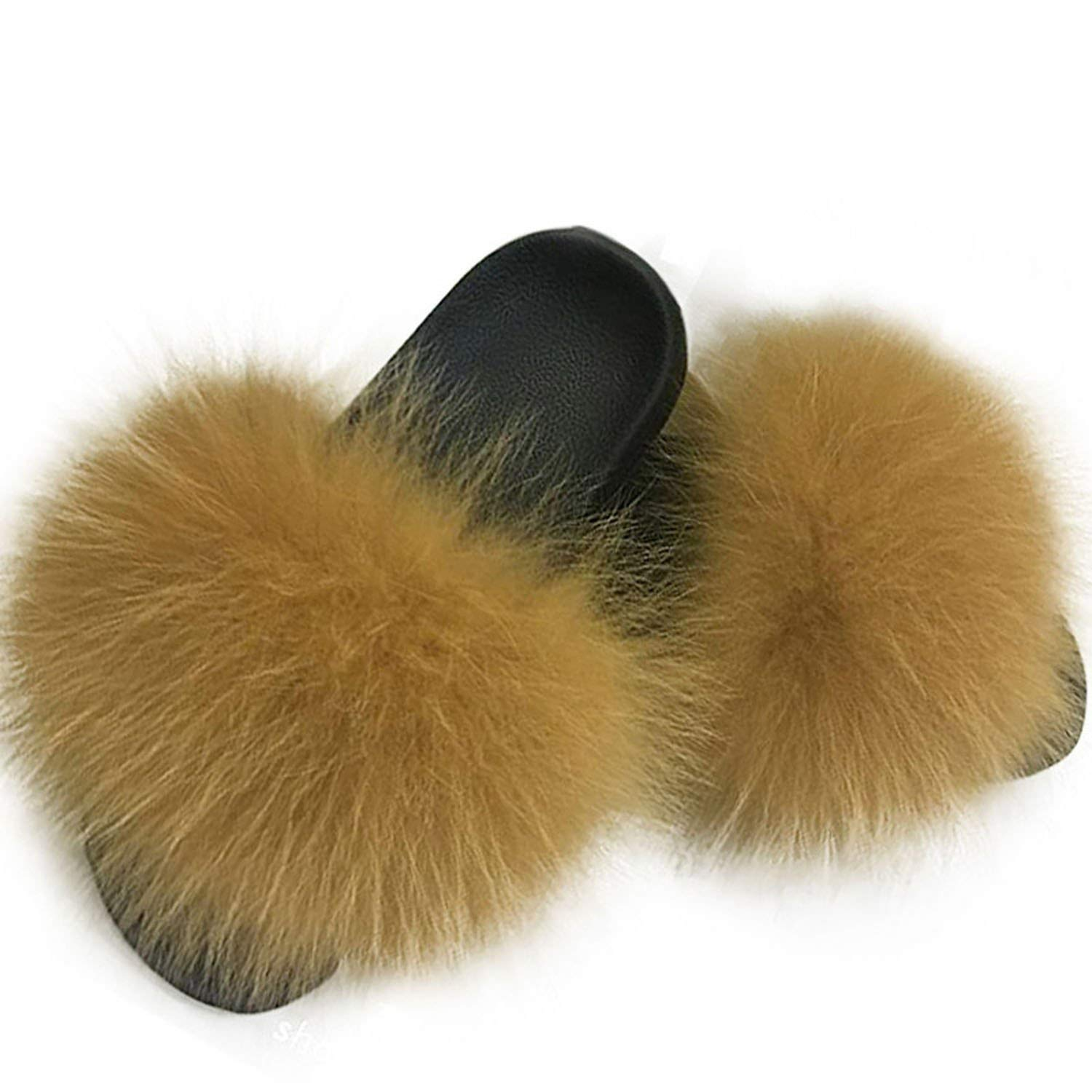a2955a87f Get Quotations · Baolustre Women's Furry Slippers Cute Plush Fox Hair Fluffy  Fur Slippers Winter Warm Slippers