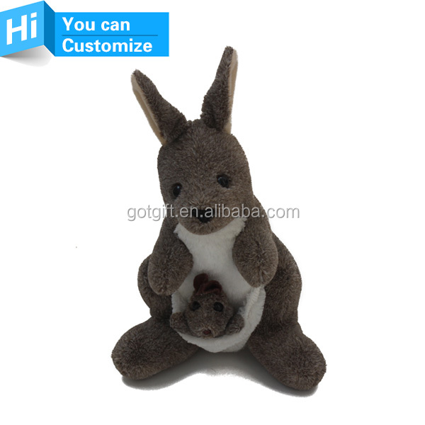 custom oem plush pet cute kangaroo toy made in China plush mini real animals toys doll customized Logo
