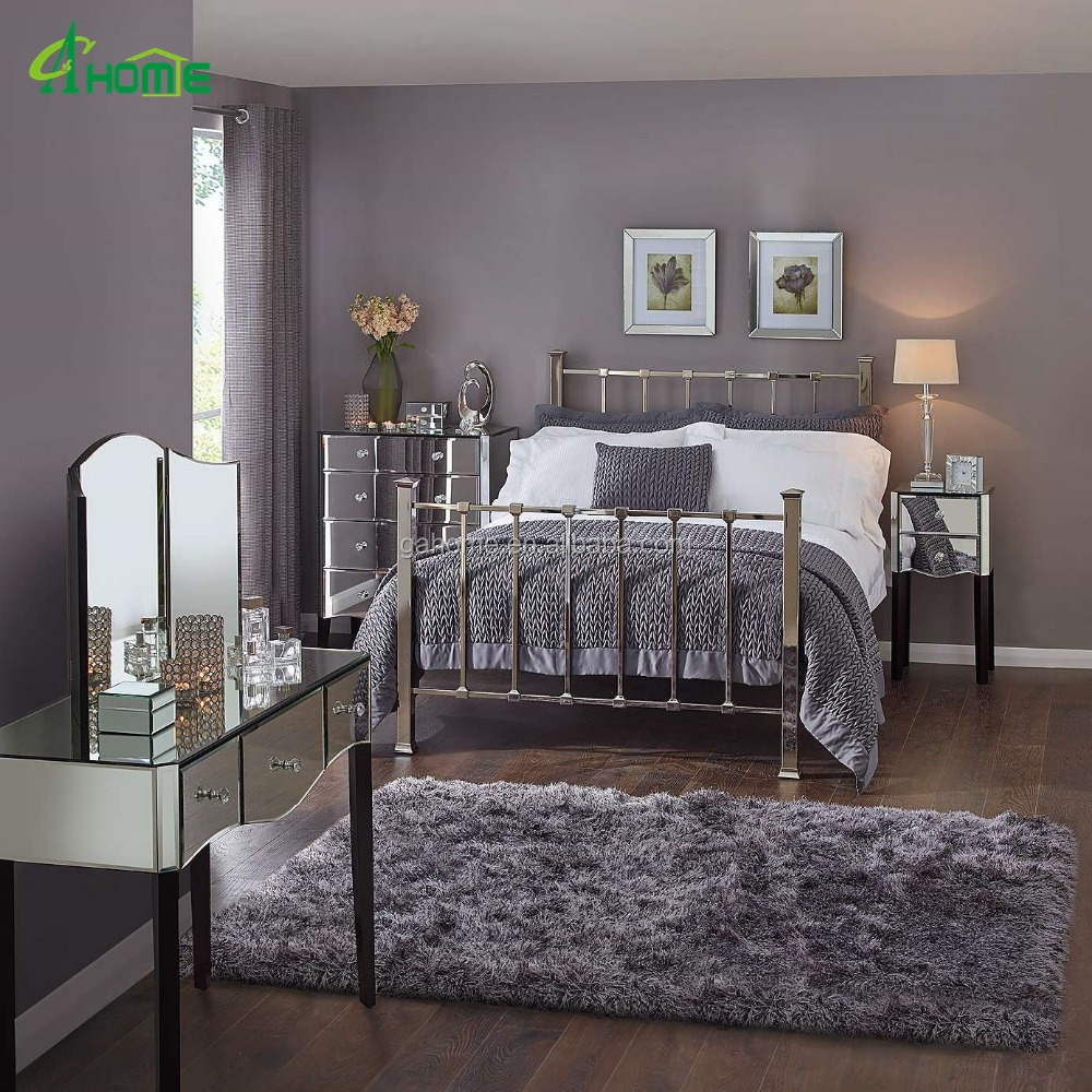 Mirrored Furniture Bedroom: Modern Fashion Bedroom Interior Decor Mirrored Furniture