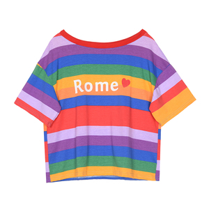 Latest Designs Guangzhou Factory 100% Cotton U-neck Stripe Color Dyed 2018 Fashion T-Shirt Product Type and Eco-Friendly Casual