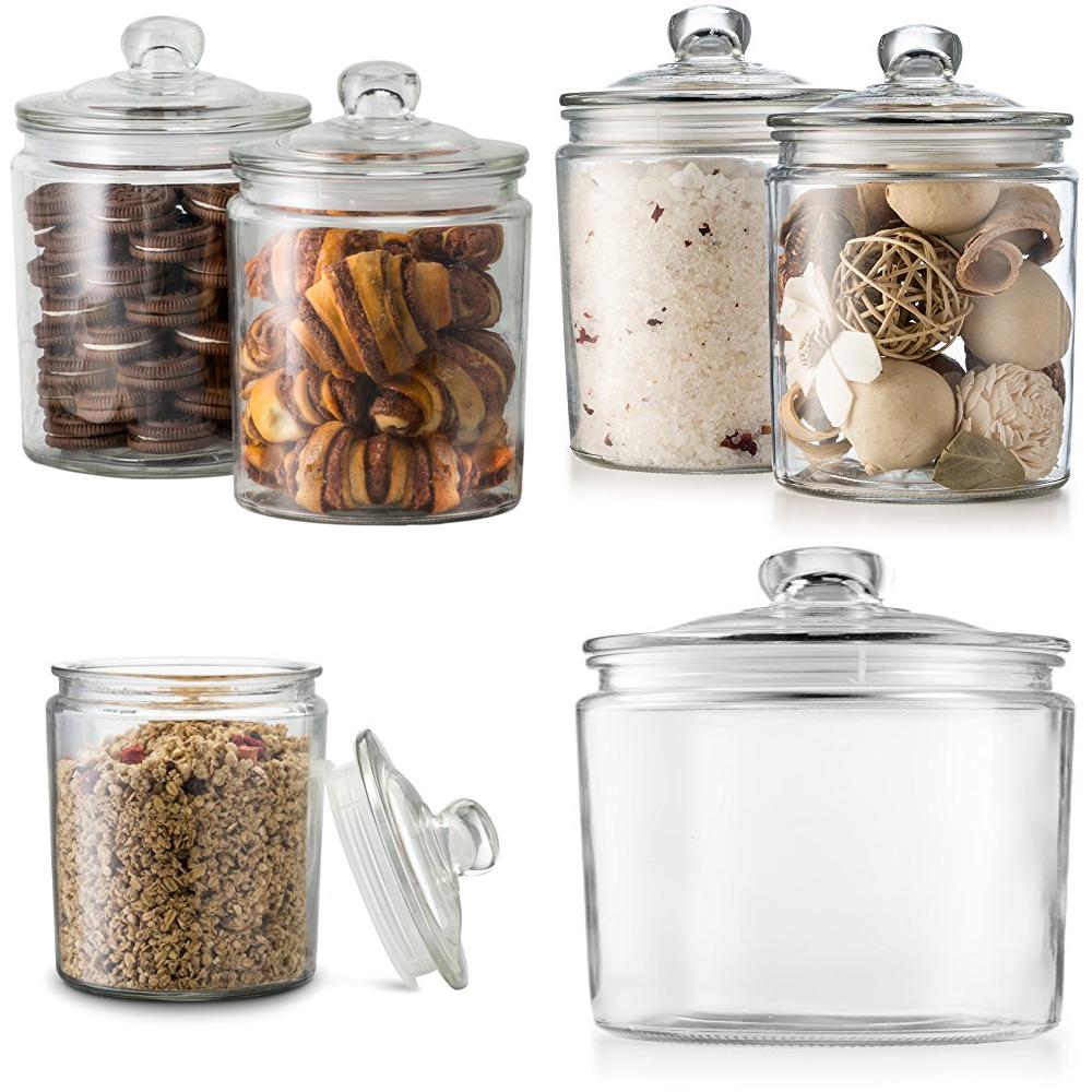 Pot à bonbons en verre rainuré, de conservation des bonbons, avec couvercle