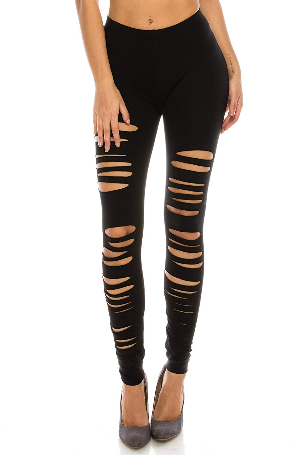 dc4ac714d253d0 Get Quotations · The Classic Full Length Elastic Hole Cut Out Ripped  Stretch Leggings Tights (also in Plus