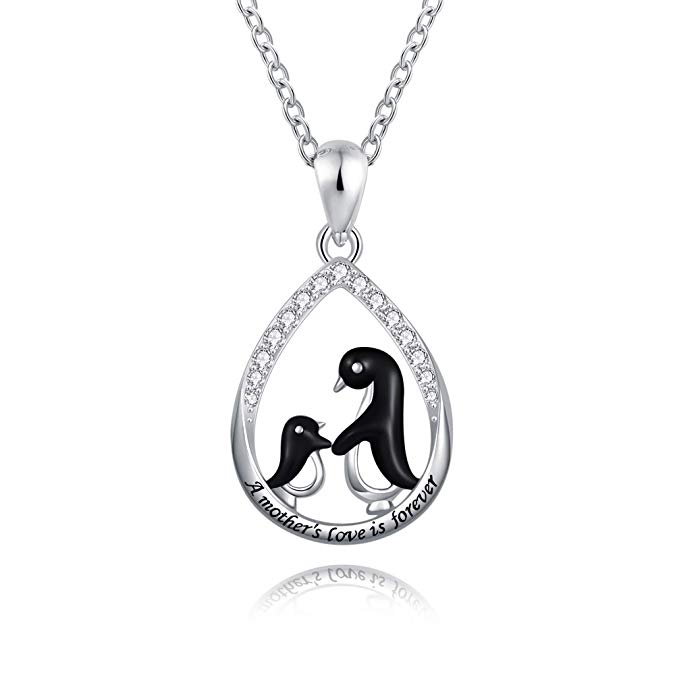Mother Daughter Necklace - Teardrop Stamped A Mother's Love is Forever Sterling Silver Cute Black Penguin Pendant Necklaces