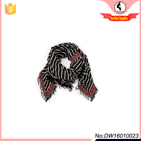 100%cotton embroidered striped square scarf