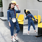 New products girls cotton fabric denim clothing jeans 2 piece set clothes kids