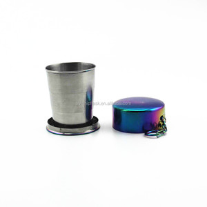Portable stainless steel collapsible travel cup /coffee cup With Key Ring