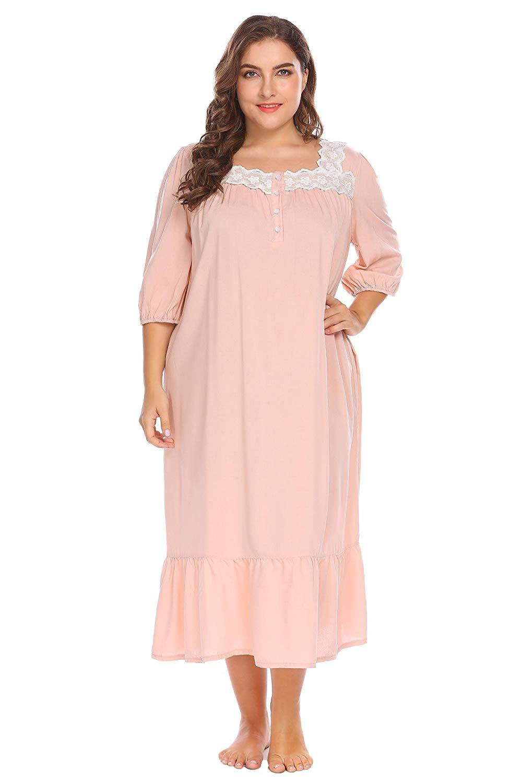 Dicesnow Women s Victorian Nightgown Plus Size Half Sleeve Sleepwear  Loungewear 3c9dcf412