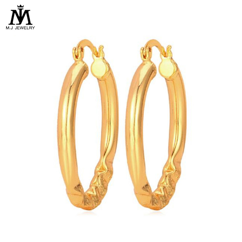 Mj Hoop Earrings Gold Silver Color Fashion Jewelry Gift Unique D Design Geometric For Women