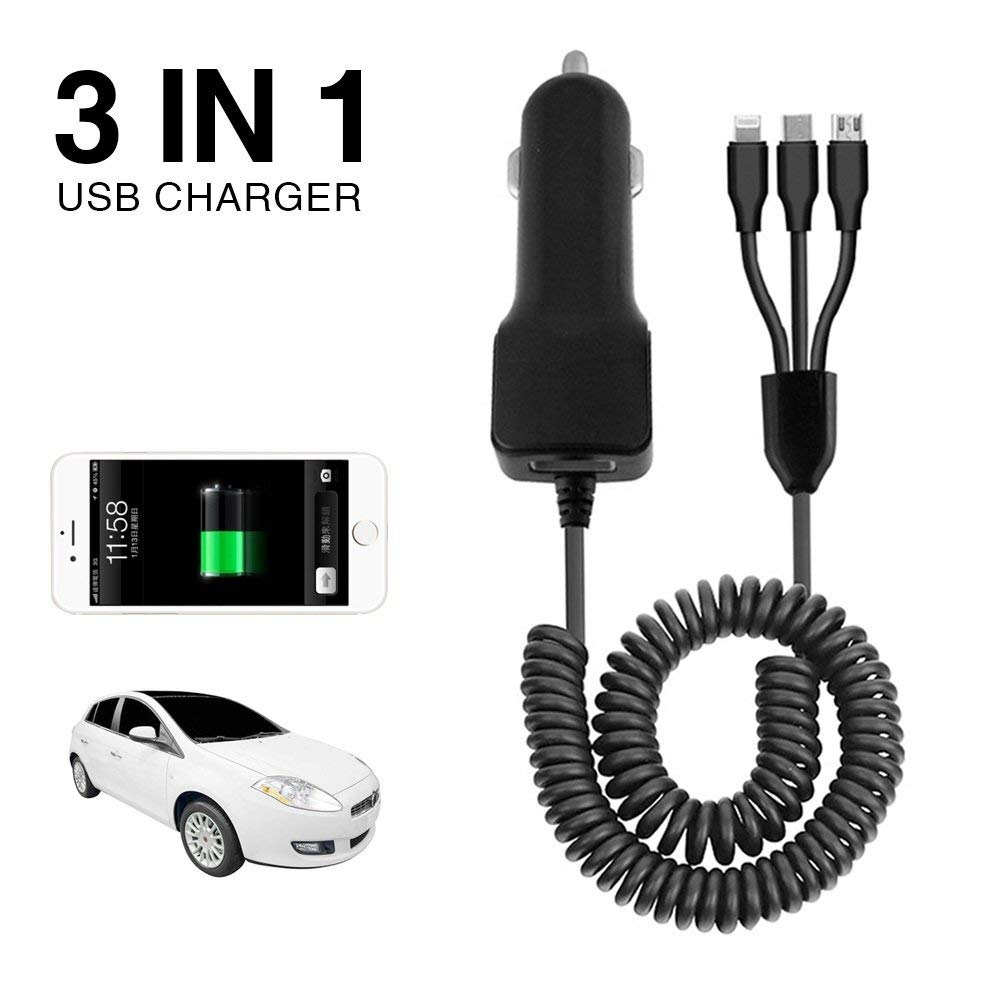 VapeOnly NG-1 3 In 1 Charger Car Mobile Phone Charger withMicro USB Type C Cable 5V USB Charger for Lightning Type C Micro USB Smart Phone iPhone X/8/7/6 (Black)