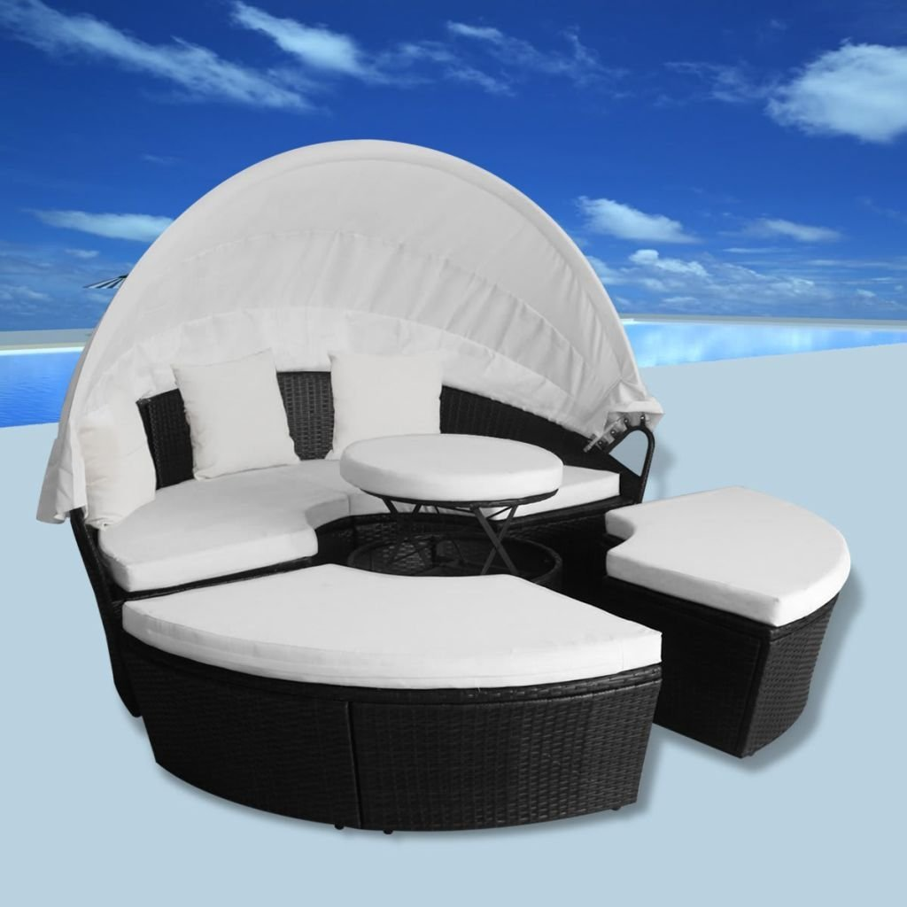 Daonanba 2-in-1 Sun Lounger Poly Rattan Sun Bed Outdoor Chaise Chair Round Black