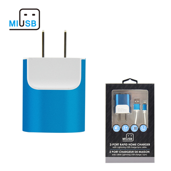 Ready to ship Miusb AC power supply 5v 2A Universal micro USB dual usb wall charger wholesale