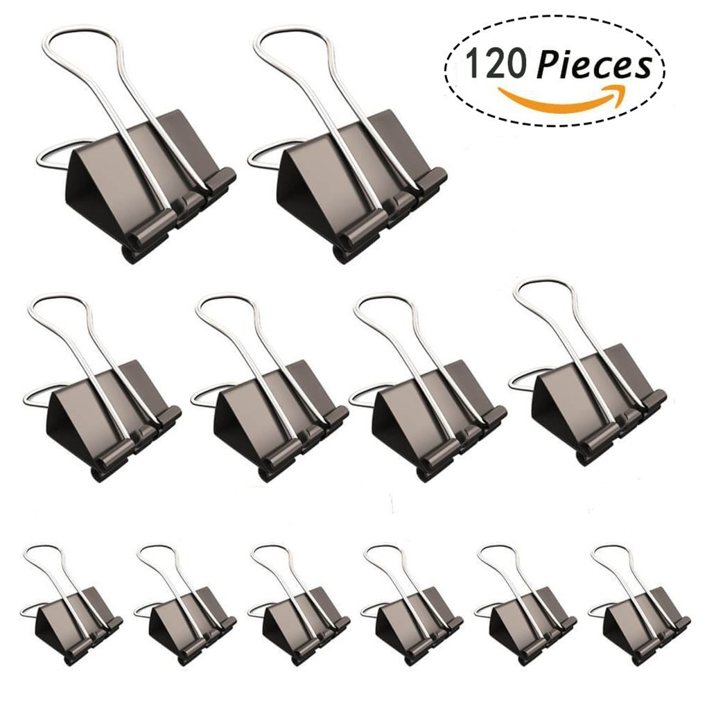 Lala shopping 120 Pcs Black Binder Clips Paper Clamp Clips with Assorted Three Sizes