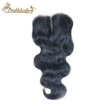 7A Grade Hair Brazilian body wave lace closure middle part free part 2 options human hair lace closure 4*4 10 to 24inch