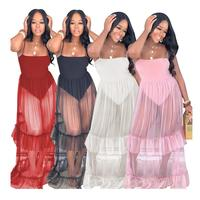 SAALS113 wholesale ruffled design plain color transparent sexy women beach cover up maxi dress