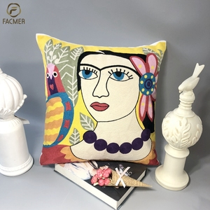 Piccaso style vintage European embroidery pillow cases living room office decor elegant sofa cushion cover