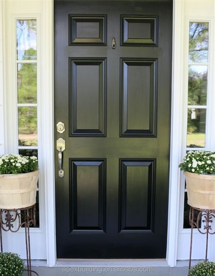 Black oil paint entry doors lowes french doors exterior for Black wooden front door