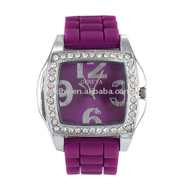 Silicone Rubber Watches/Large Number Square Face Wacth