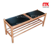 Luxury solid oak wood bench with PU