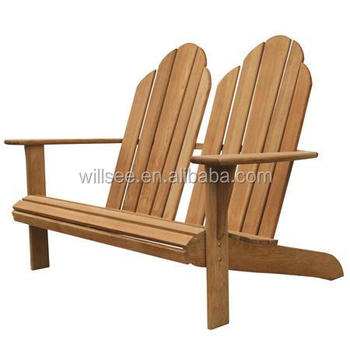 He 516 Double Seat Wooden Beach Chair Doube Outdoor Frog Adirondack