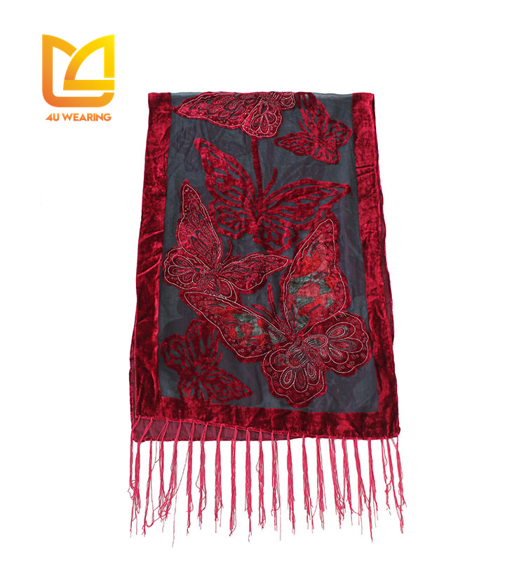 2017 Red butterfly burnout velvet women magnetic neck cowls woven scarf