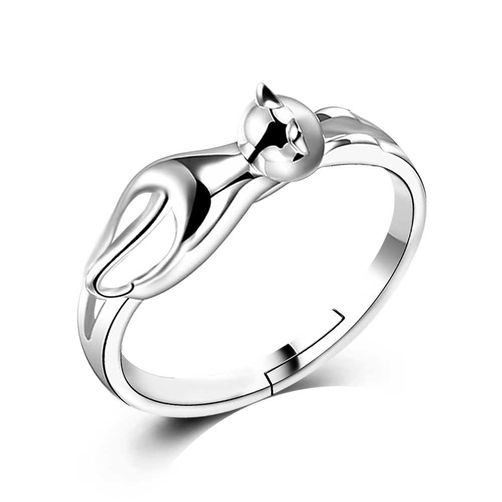 free for silver sterling finger jewelry rings women beautiful open ring cat shipping products dnzshop