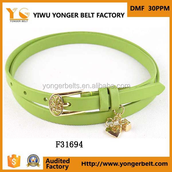 narrow decoration jeans fashion belt new arrival labeling lady belt with pendant
