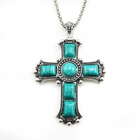 Wholesale Cross Necklace Women Turquoise Stone Silver Plated Chain Metal Necklace 2019