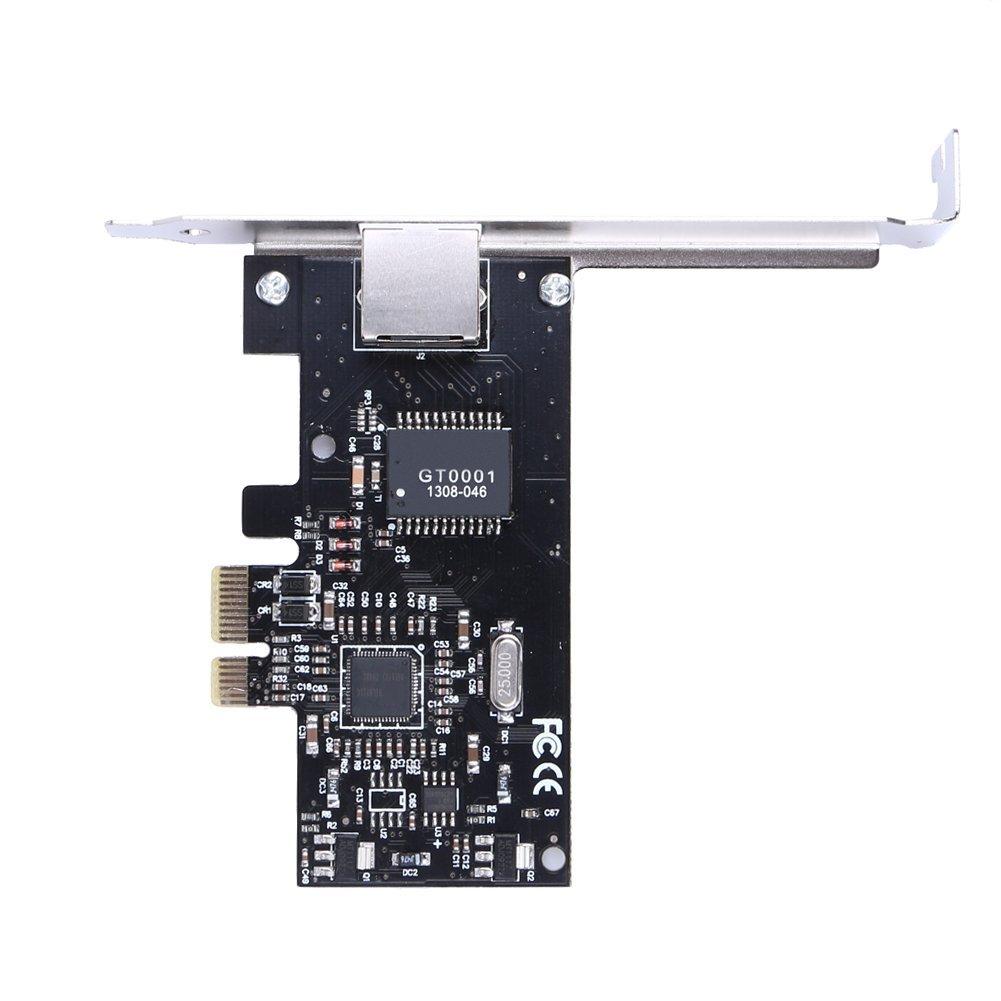 Goliton New 1 Port 2.5Gb//s Gigabit Ethernet RJ-45 RJ45 Network LAN Card PCI-E Express 10//100//1000M Desktop Controller Adapter Connector
