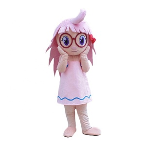 Customized soft plush smile girl mascot costume for adults