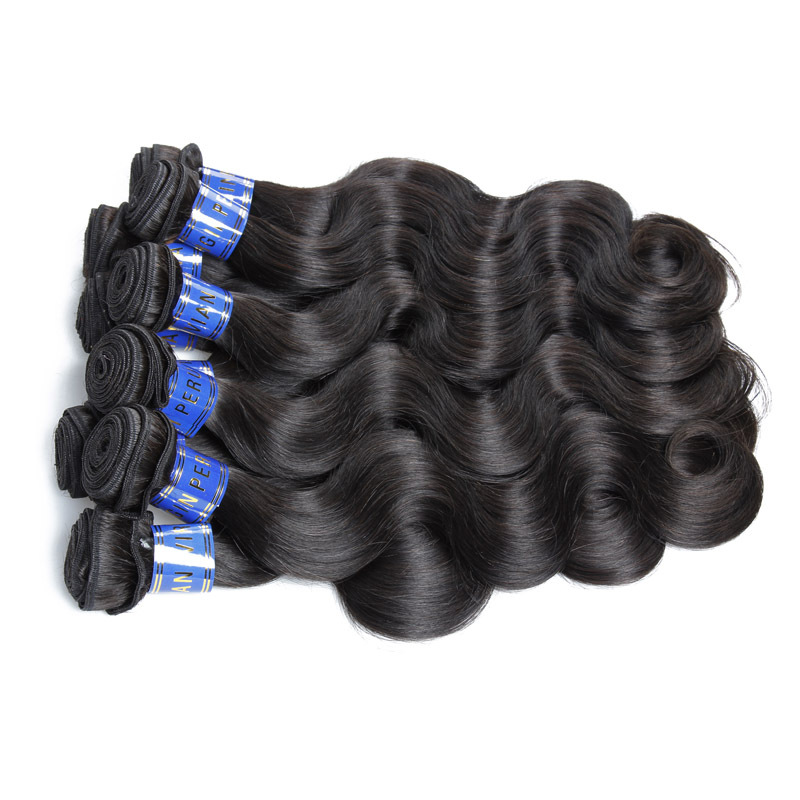 Free Shipping 16 18 20 Inch 7A Virgin Hair Extension 100% Peruvian Virgin Wavy Hair