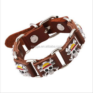 woven pure leather bracelet with pirate skull awesome wristband bangle /woven wristband/wholesale wristband leather