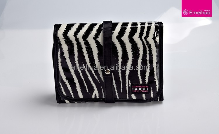 Personalized makeup brush bag with black and white stripe new design makeup belt with mirror