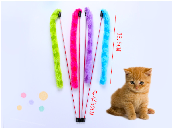 Interactive Cat Toy Feather Interactive Toy Turkey Feathers Tease Colorful Pet Supplies Cat Stick