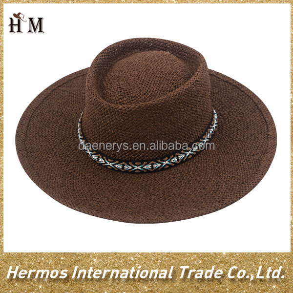 Summer outdoor wide brim panama hat boater paper straw hat