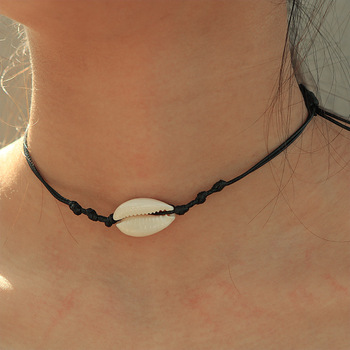 Women white conch clam chips puka shell necklace
