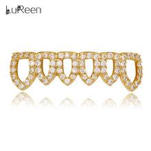 LuReen, золотистые ребристые зубы, пустые, со льдом, для вампира, Fangs, Grillz, колпачки для зубов, золотые, для мужчин и женщин, для мужчин(Китай)