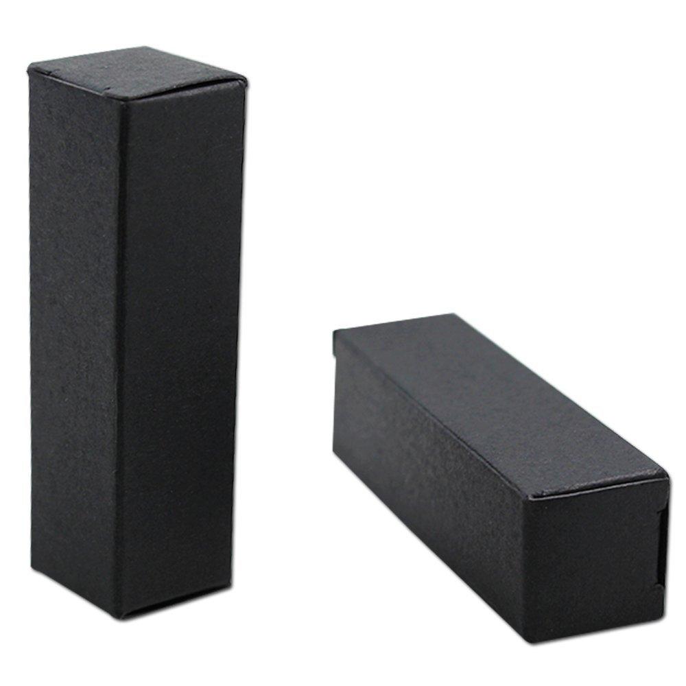 "2x2x8.5cm (0.78""x0.78""x3.34"") Rectangle Kraft Paper Gift Box Merchandise Lipstick Tobe Mackup Shopping Favor Packaging Boxes Cosmetics Kraft Essential Oil Bottle Storage Boxes (100, Black)"