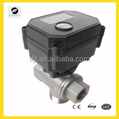 "1/2"" DN15mm DC12V/24V 3 Way L Port Stainless Steel Electric Valve,Motorized Ball Valve CR03 Wiring Description: Product size"